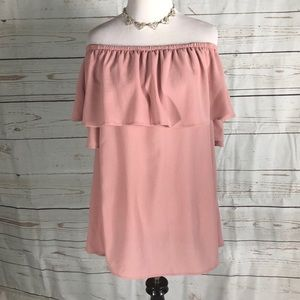 Off On Shoulder Flounce Blouse in Blush